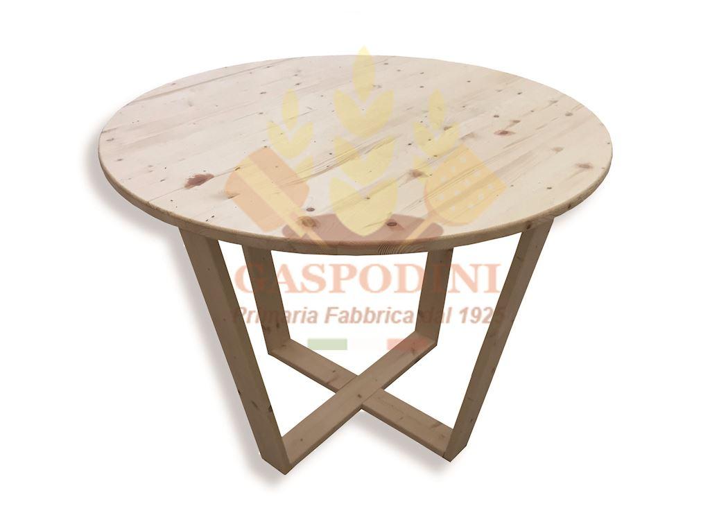 Tavolo Rotondo in Legno Massello con Verniciatura Trasparente Ø cm 100